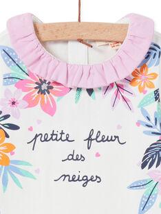 Body ecrù collo con volant e stampa a fiori neonata MIPLABOD / 21WG09O1BOD001