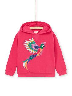 Felpa con cappuccio rosa con motivo pappagallo ricamato LANAUSWEA / 21S901P1SWEF507