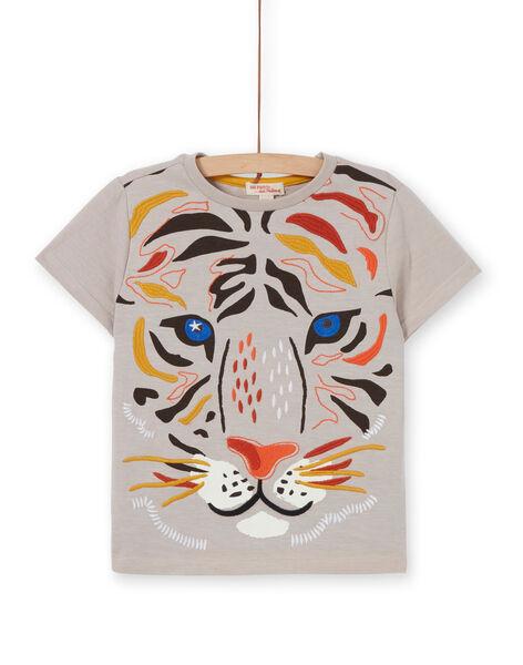 T-shirt taupe con motivo leone bambino LOTERTI4 / 21S902V2TMC007
