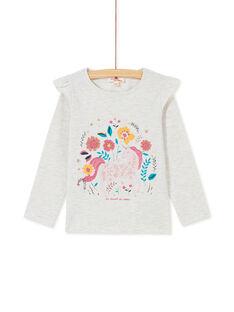 T-shirt a maniche lunghe, volant sulle spalle e stampa unicorno KAGOTEE1 / 20W901L3TML006