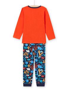Set pigiama t-shirt e pantaloni arancione e blu scuro bambino MEGOPYJMAN4 / 21WH1274PYGE414