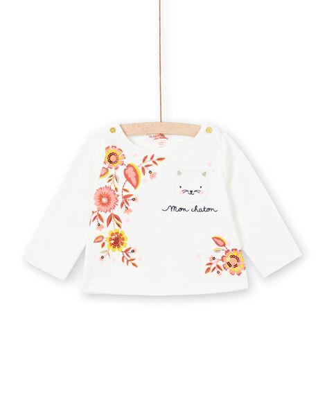 T-shirt bianca a maniche lunghe neonata LINAUTEE / 21SG09L1TML001