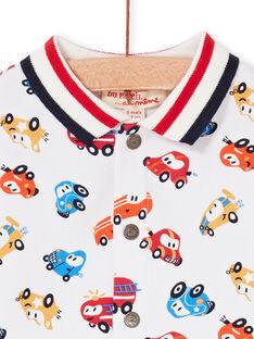 Camicia ecrù e rossa stampa automobile neonato LUHACHEM / 21SG10X1CHM001