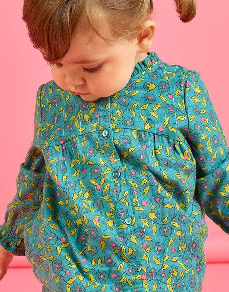 Blusa maniche lunghe con stampa a fiori e righe neonata MIKACHEM / 21WG09I1BLU612