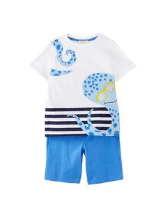 Completo da spiaggia bambino t-shirt bianca e bermuda blu JOPLAENS3 / 20S902X4ENS000