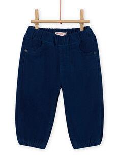Pantaloni blu notte in velluto a costine neonato MUJOPAN3 / 21WG1012PAN713