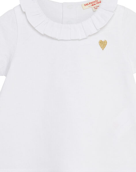 Top maniche corte bianco neonata JIJOBRA6 / 20SG09T1BRA000