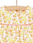 Completo abito bianco e giallo con stampa a fiori e leggings bianchi e rossi a righe neonata LINAUENS1 / 21SG09L2ENS001