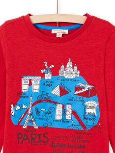 T-shirt maniche lunghe rossa mappa di Parigi bambino MOJOTEE3 / 21W9022ATML505