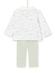 Set camicia e pantaloni bianco e kaki nascita bambino MOU1ENS4 / 21WF0441ENS001