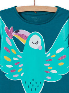 Completo pigiama fosforescente turchese uccello bambina MEFAPYJTOU / 21WH1172PYGC217