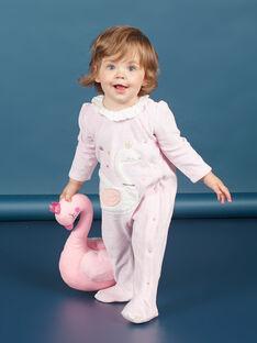 Tutina in velluto rosa melange con motivo cigno neonata MEFIGRESWA / 21WH1385GRED314