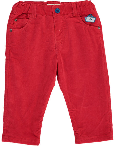 Baby boys' red velour trousers DUNAUPAN1 / 18WG10G1PANF517
