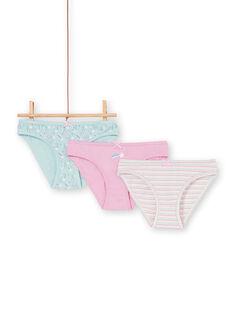 Set 3 slip rosa, blu ed ecrù bambina LEFALOT6 / 21SH1124D5L320