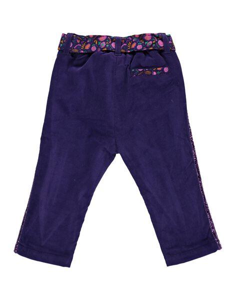 Baby girls' polar fleece-lined velour trousers DIVIOPAN / 18WG09H1PAN711