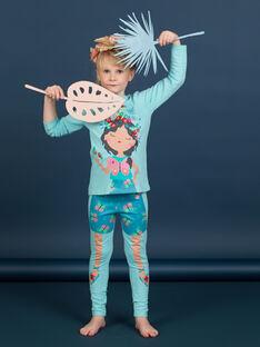 Completo pigiama t-shirt e leggings turchese bambina LEFAPYJBUT / 21SH11S2PYGC215