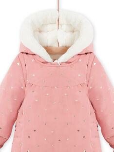Tutina imbottita con cappuccio rosa a pois neonata MIKAPIL / 21WG0961PIL303