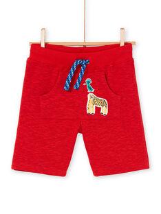 Bermuda rosso melange bambino LOVIBER2 / 21S902U2BERF520