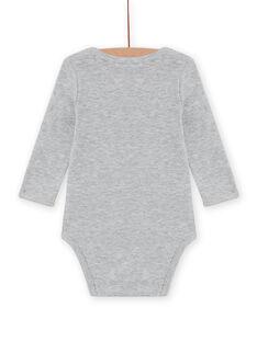 Body maniche lunghe grigio melange con motivo riccio neonato MEGABODSON / 21WH14C5BDLJ922