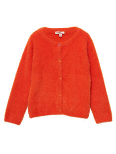 Cardigan Arancione in maglia effetto piume JAVICAR / 20S901D1CAR406