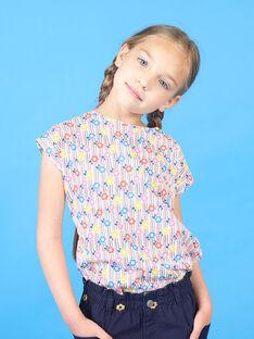 T-shirt rosa e blu a righe con stampa a fiori bambina LAHATI2 / 21S901X2TMC001