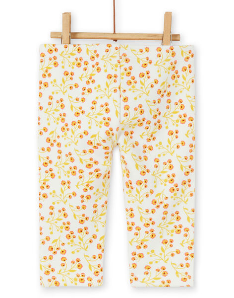 Leggings imbottiti ecrù e gialli con stampa a fiori neonata LINAUPAN / 21SG09L1PAN001