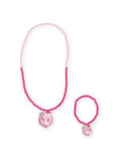 Collana e bracciale in perline rosa con ciondolo tigre bambina MYAJOCOU2 / 21WI01S2CLI961