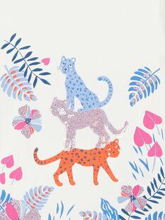 T-shirt bianca con stampa vegetale e leopardi LABLETEE2 / 21S901J1TML001