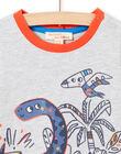 T-shirt grigio melange maniche lunghe motivi dinosauri neonato MUPATEE3 / 21WG10H2TML943