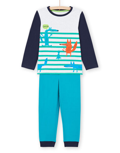 Set pigiama t-shirt e pantaloni blu e bianco bambino MEGOPYJLOU / 21WH1233PYJJ920