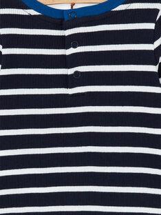 T-shirt blu scuro e bianca a righe in cotone neonato LUJOTEE4 / 21SG1032TML713