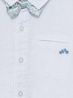 Camicia in lino bianca bambino con papillon amovibile JOPOECHEM / 20S902G2CHM000