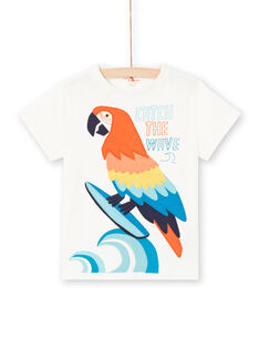 T-shirt ecrù con motivo pappagallo bambino LOBONTI5 / 21S902W3TMC001