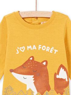 T-shirt maniche lunghe senape con motivo volpe e foresta neonato MUSAUTEE2 / 21WG10P2TMLB106