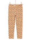 Leggings senape con stampa a fiori bambina MYAMIXLEG1 / 21WI01J2CALB106