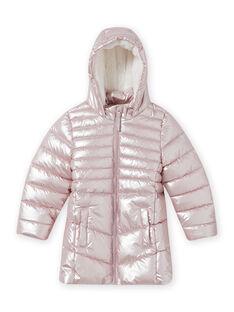 Piumino impermeabile rosa metallizzato bambina MALONDOUN1 / 21W90158D3ED300