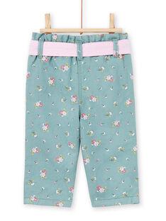 Pantaloni azzurri con stampa a fiori neonata MIKAPAN / 21WG09I1PAN612