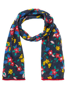 Foulard bambina navy con motivo fiori multicolore JYAGRAFOUL / 20SI01E1FOUC243