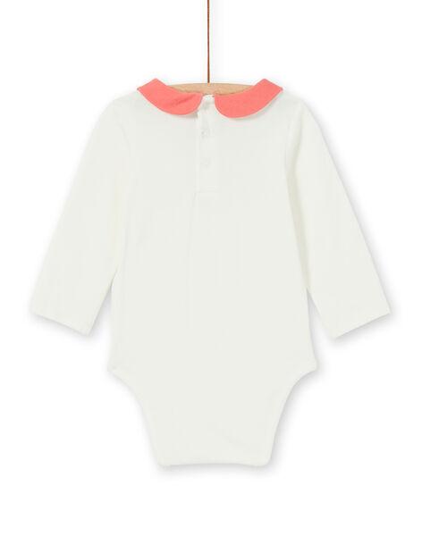 Body bianco e corallo in cotone neonata LINAUBOD / 21SG09L1BOD001