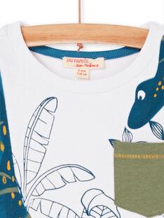 T-shirt bianca e blu stampa foglie bambino LOVERTI3 / 21S902Q4TMC000