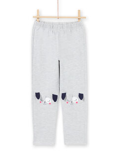 Set pigiama t-shirt e pantaloni grigio melange bambina MEFAPYJDOG / 21WH1185PYJ943