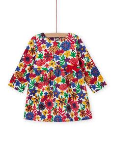 Abito a maniche lunghe con stampa a fiori colorato neonata MIMIXROB3 / 21WG09J2ROB001