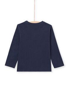 T-shirt maniche lunghe blu notte collo alla tunisina bambino MOJOTUN1 / 21W90212TML705