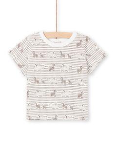 T-shirt ecrù e marrone a righe neonato LUTERTI3 / 21SG10V3TMC001