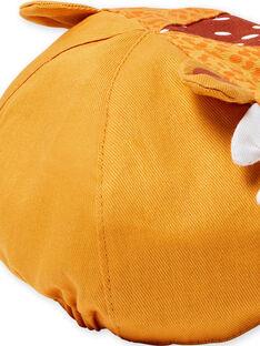 Cappellino giallo motivo leopardato neonato LYUTERCASQ / 21SI10V1CHAB106