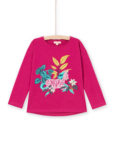 T-shirt maniche lunghe fucsia motivo zebra bambina MATUTEE1 / 21W901K3TMLD312