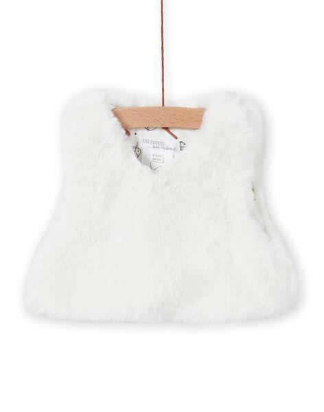 Gilet ecrù in finta pelliccia nascita bambina MOU1GIL3 / 21WF0341GIL001