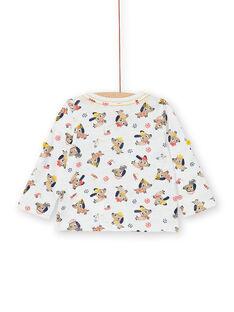 T-shirt ecrù con stampa cani e fantasia in cotone neonato LUNOTUN / 21SG10L3TML001