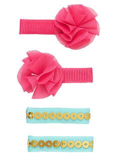 Set 4 clip - 2 rosa (con fiori T/T) e 2 turchese con paillettes dorate JYAWECLIC1 / 20SI0191BRT955