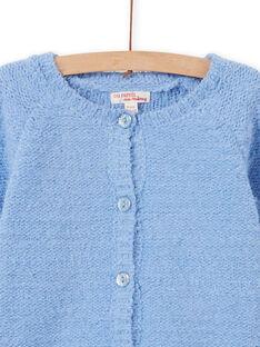 Cardigan in ciniglia azzurro bambina MAYJOCAR3 / 21W90119CAR706